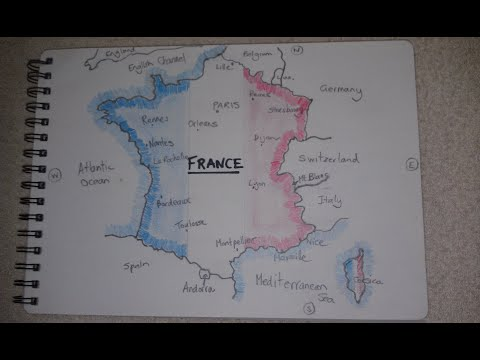 ASMR - Map Of France - Australian Accent - Chewing Gum, Drawing & Describing In A Quiet Whisper