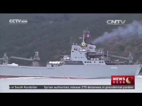 Russia soldier with missile passes through the Bosphorus