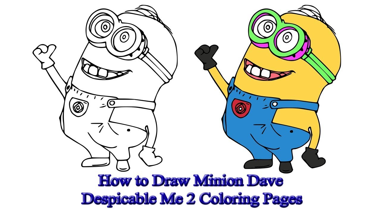 How to Draw Minion Dave | Despicable Me 2 Coloring Pages - YouTube
