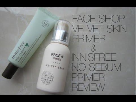 The Face Shop Velvet Skin Primer And Innisfree No-Sebum Primer Review - YouTube