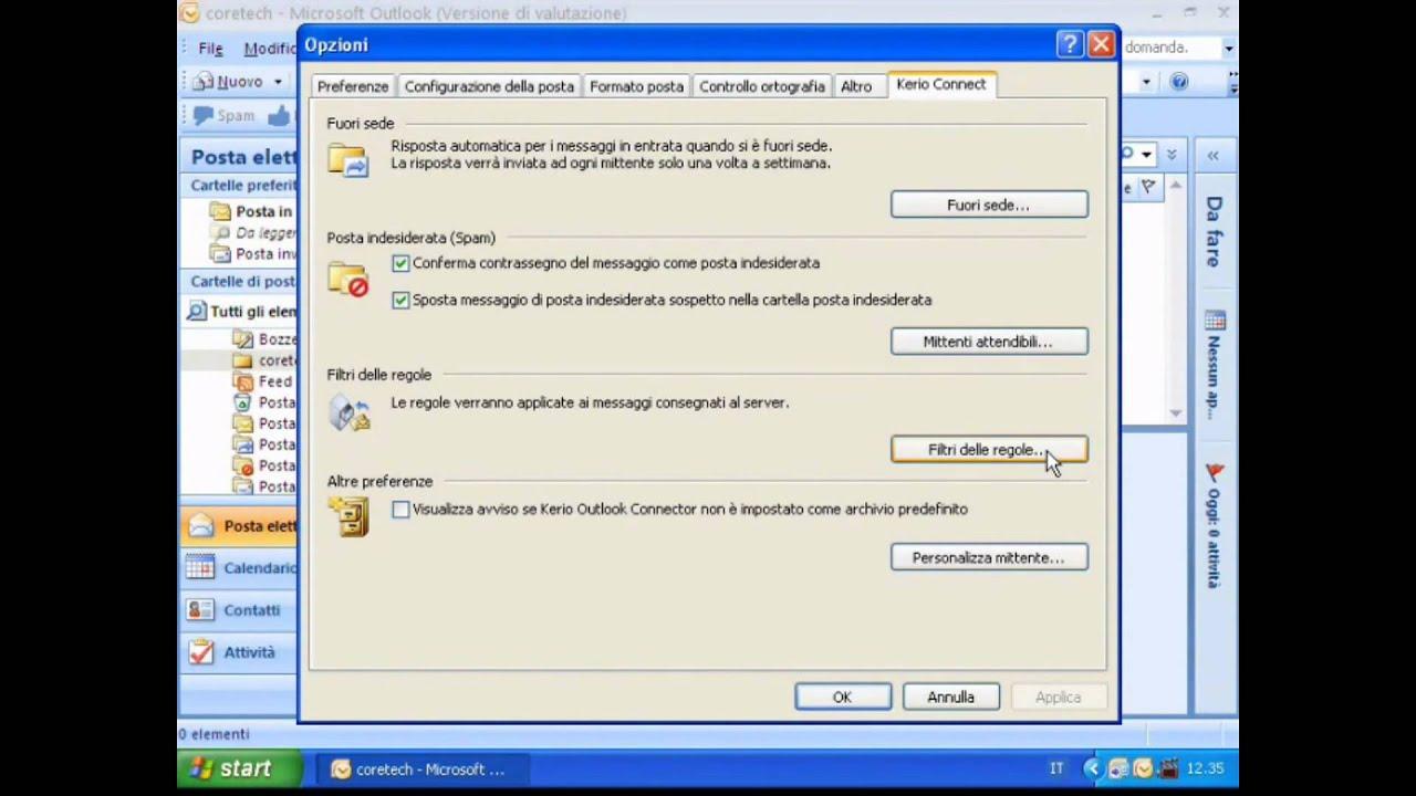 Kerio Outlook Connector e impostare una regola