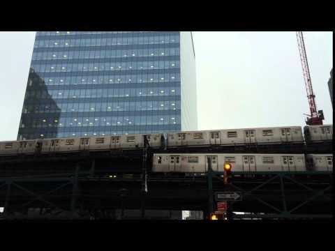 New York City Subway metro Trains elevated in Manhattan and Bronx