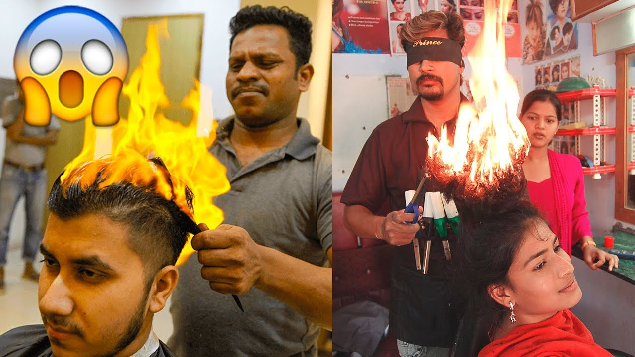 🔥 Amazing Fire Haircut 😱 Hair Stylists Cutting Hair With Fire🔥