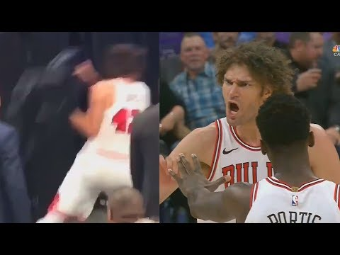 Robin Lopez THROWS CHAIR IN ANGER AFTER GETTING EJECTED! Bulls vs Kings February 5, 2018