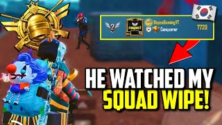 RANK #2 ASIA CONQUEROR WATCHED ME DESTROY THIS SQUAD! | PUBG Mobile