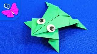 Оригами из бумаги :: Прыгающая лягушка(Оригами из бумаги - прыгающая лягушка с глазками, умеет ловко прыгать! Этот лягушонок отлично подходит..., 2014-05-24T12:08:20.000Z)