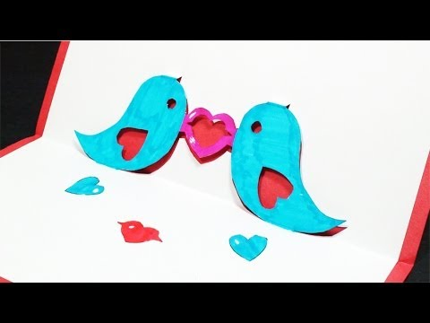 How to Make a Twitter Love Birds Pop Up Card (Kirigami 3D