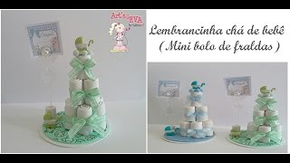 Lembrancinha chá de bebê (mini bolo de fraldas)