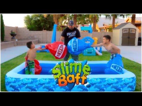 SLIME BAFF BOXING CHALLENGE!  (large boxing gloves)