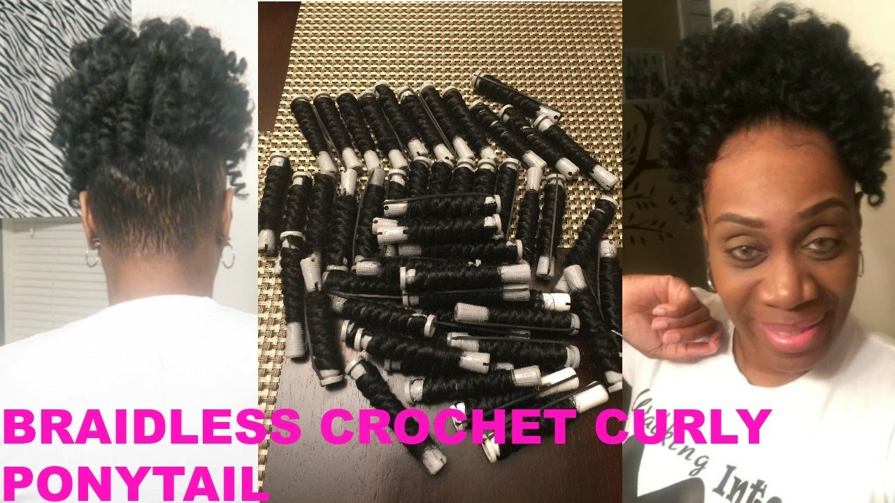 How To Braidless Crochet Curly Ponytail Youtube