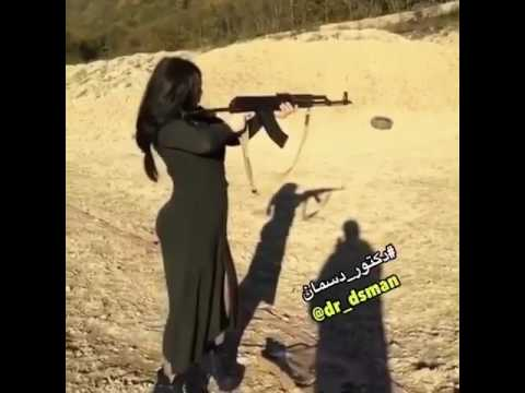 Hot Arab girl firing AK47 with perfection