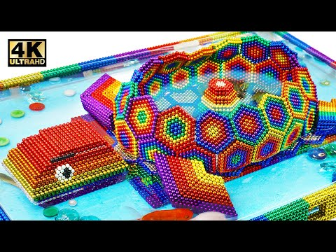 Build Fish Pond Around Turtle Tank From Magnetic Balls (Satisfying & Relax) | Magnet World Series