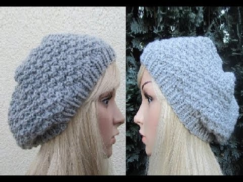 Free Knitting Pattern Beret Straight Needles : How to Knit a Hat Pattern #5 ?by ThePatterfamily - YouTube