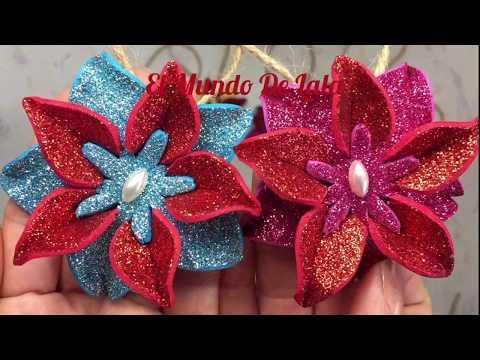 DIY: How to make Christmas tree flower ornaments with Glitter Foam Sheets Super easy to make