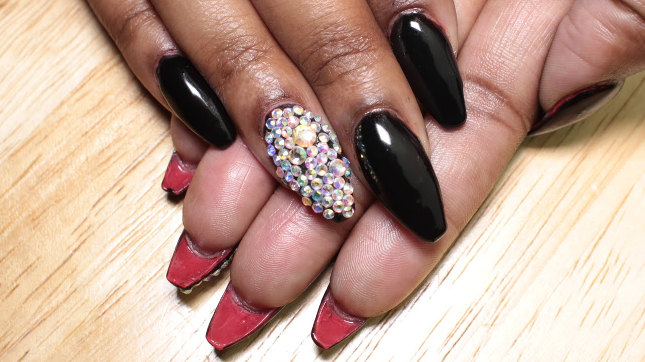 Acrylic Nails | Black Christian Louboutin Inspired Nails using ...