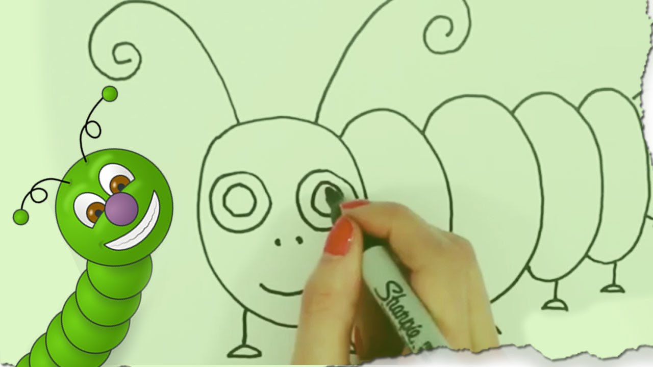 How To Draw A Caterpillar By Hooplakidz Doodle Drawing Tutorial
