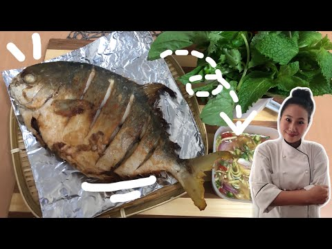 FISH & MANGO RECIPE • DEEP FRIED FISH WITH MANGO SAUCE •Thai Chef Food