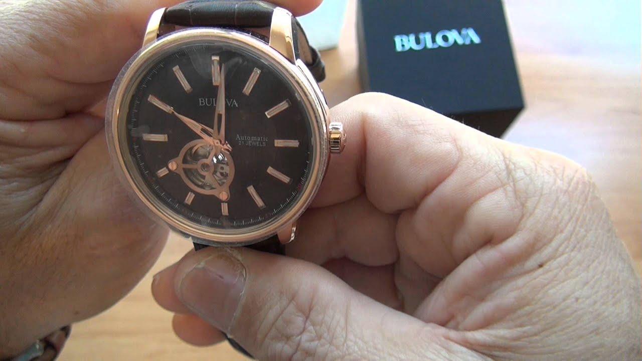 72572dfb5dd Unboxing  Relógio Bulova 97A109 Automático Gold (Original) - YouTube