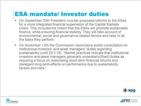 EU consultation on investor duties regarding sustainability