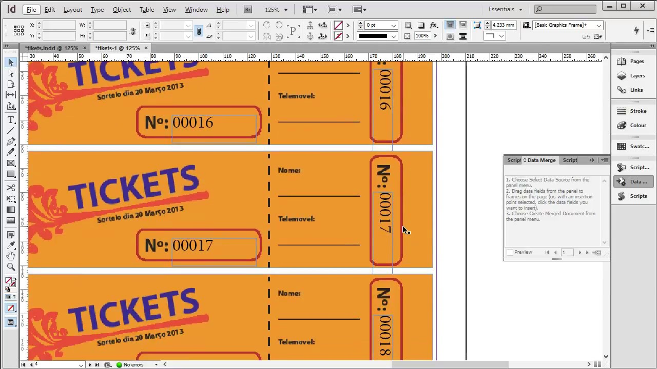 Indesign - Criar rifas / tickets - YouTube