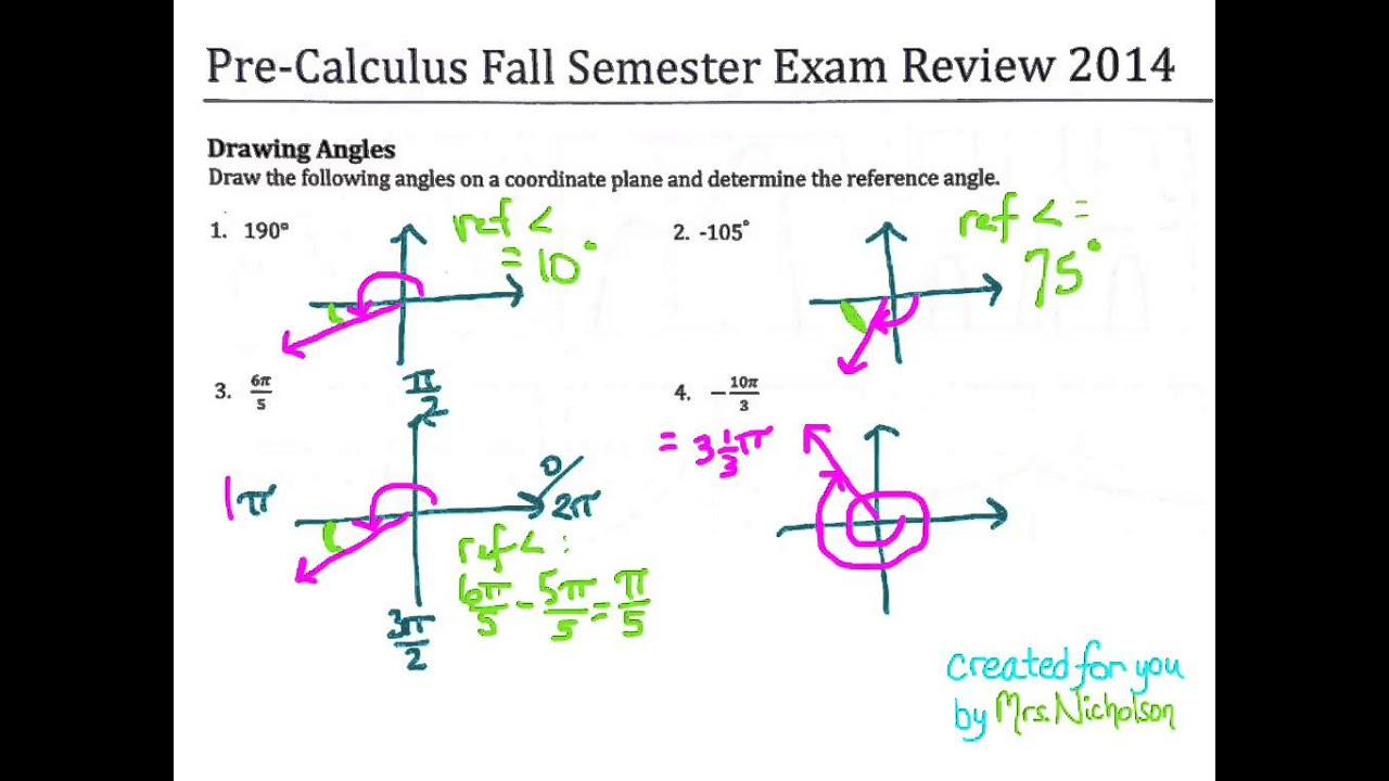 worksheet Drawing Angles exam review drawing angles converting coterminal angles