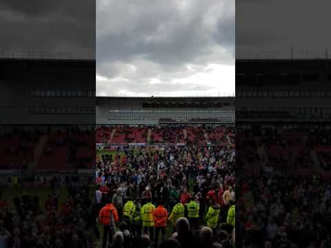 Leyton Orient pitch invasion (Colchester prospective) Up the O's