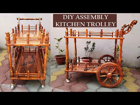 #11 Wooden Service Trolley Assembly | DIY Food Cart with Wheels | Handmade in Sheesham Aarsun Woods