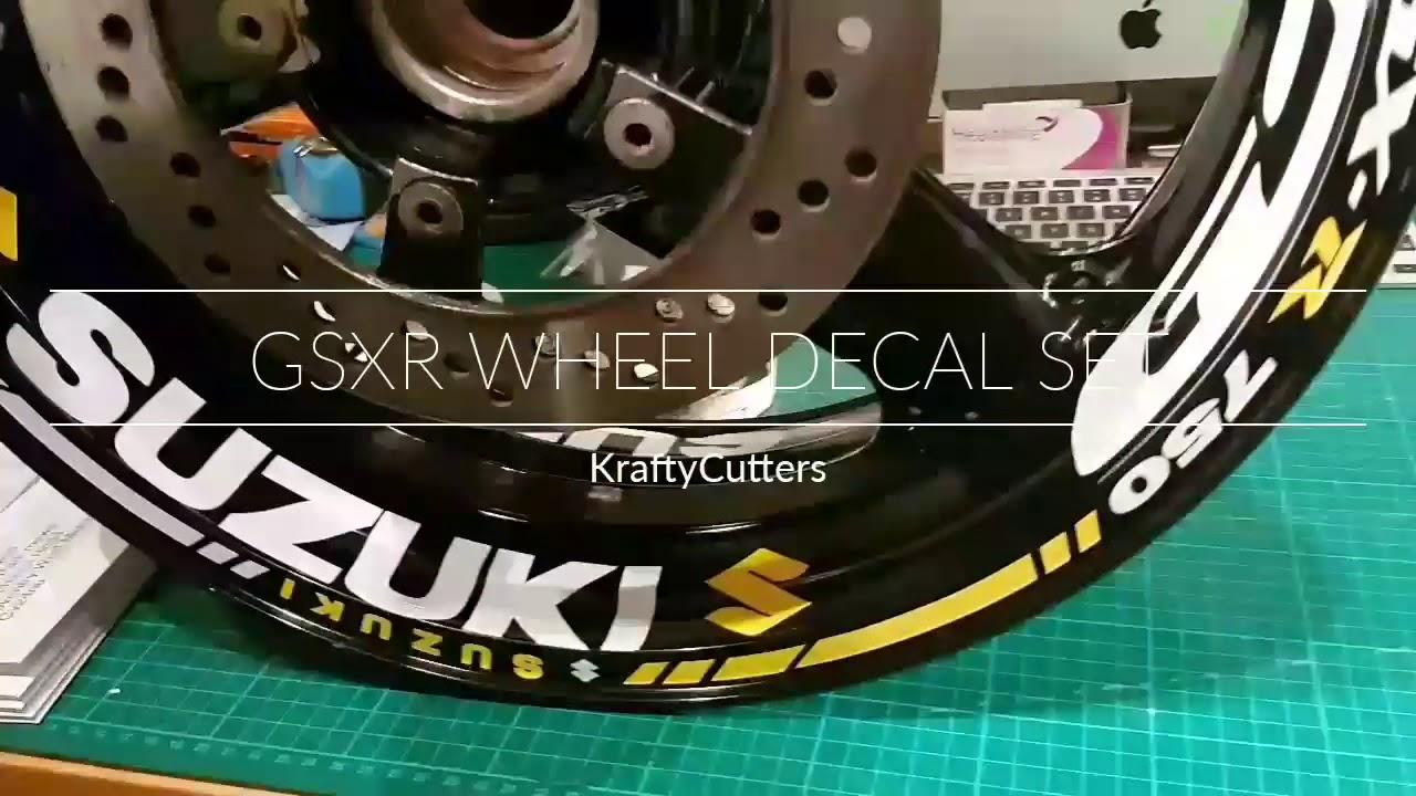 Kraftycutters suzuki gsxr wheel sticker set decal set gsx r 600 750 1000 k1 k2 k2 k4 k5 k6 k7 k8 k9