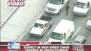 man gets tasered after car chase in miami