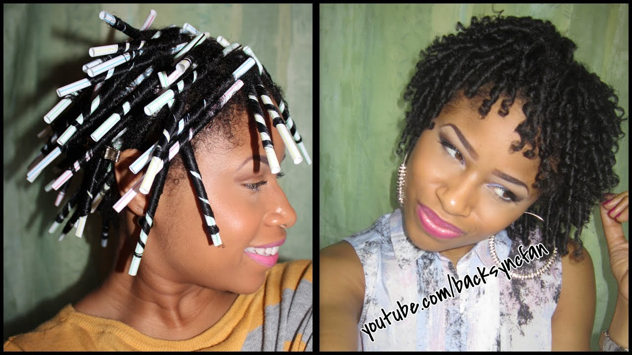 STRAW SET on NATURAL HAIR | Defined, Bouncy Curls! - YouTube