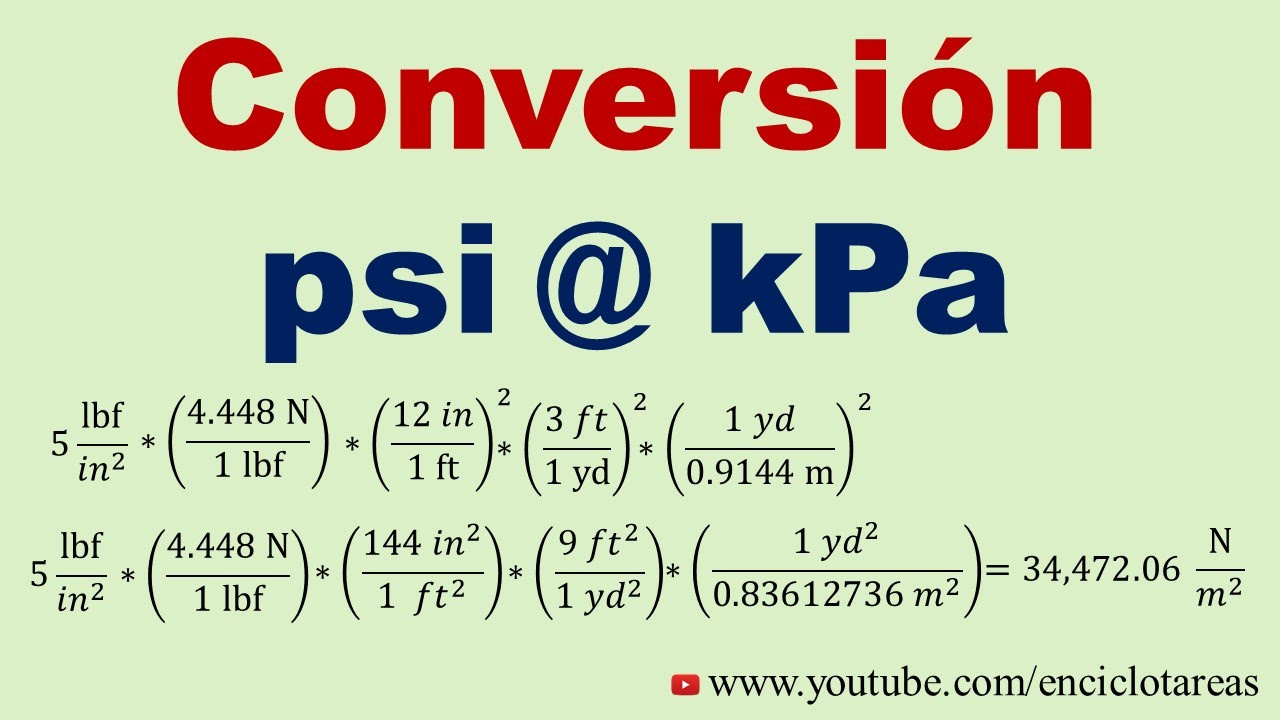 Convertir De Psi A Kpa Youtube