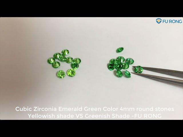 Cubic Zirconia Emerald Green Color 4mm round stones Yellowish shade VS Greenish Shade comparison