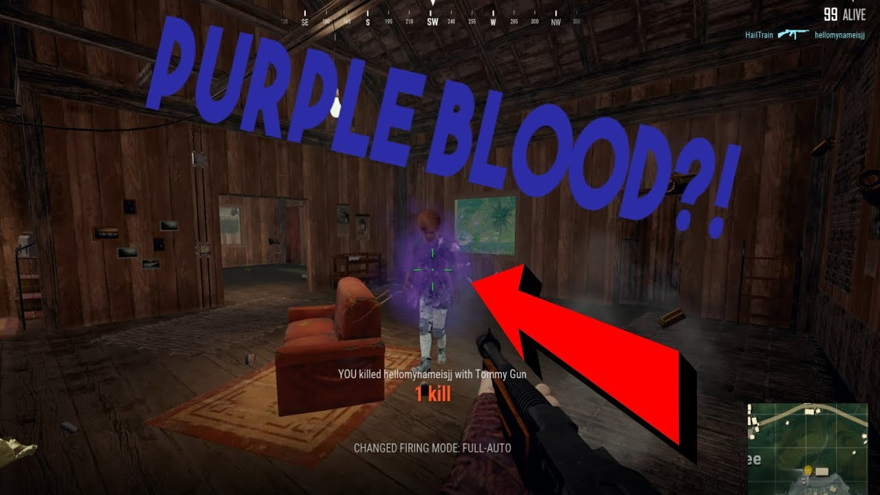 How to change BLOOD to PURPLE in PUBG *SUPER BRIGHT* | Player Unknowns  BattleGrounds |