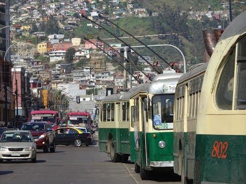 Valparaiso, Chile  Pullman Trolleybus Scenes - 1974 & 2016