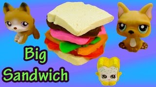 Lps Playdoh Picnic Food Bucket Big Sandwich Littlest Pet Shop Dog Vern Shopkins Playset Unboxing