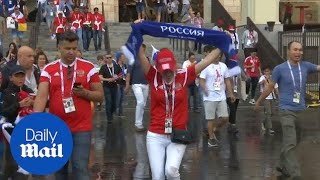 Russian fans party after their team advance to quarter finals