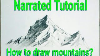 How to draw mountains for beginners - How to draw Landscape - How to sketch mountain - Draw Mountain