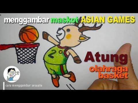 Cara Menggambar Maskot ASIAN GAMES 2018 Atung Main Basket