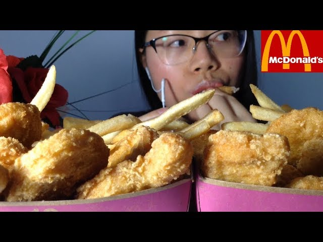 ASMR McDonalds 20 Piece Chicken Nuggets and Fries Eating Sounds w. Whispering, Eat With Me!! :)