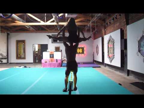 Duo partner acrobatics on a Unicycle