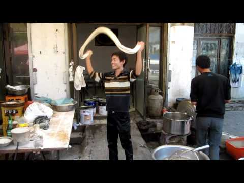 Muslim Chinese preparing noodles in Kaifeng, Henan