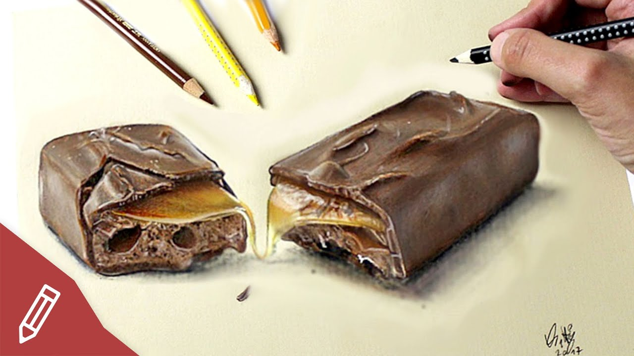 Drawing a REALISTIC chocolate bar - YouTube