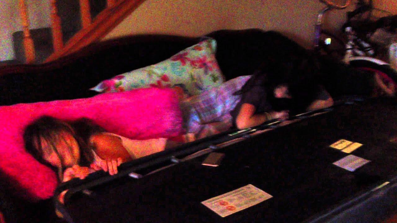 Girls get stuck in sofa bed - YouTube