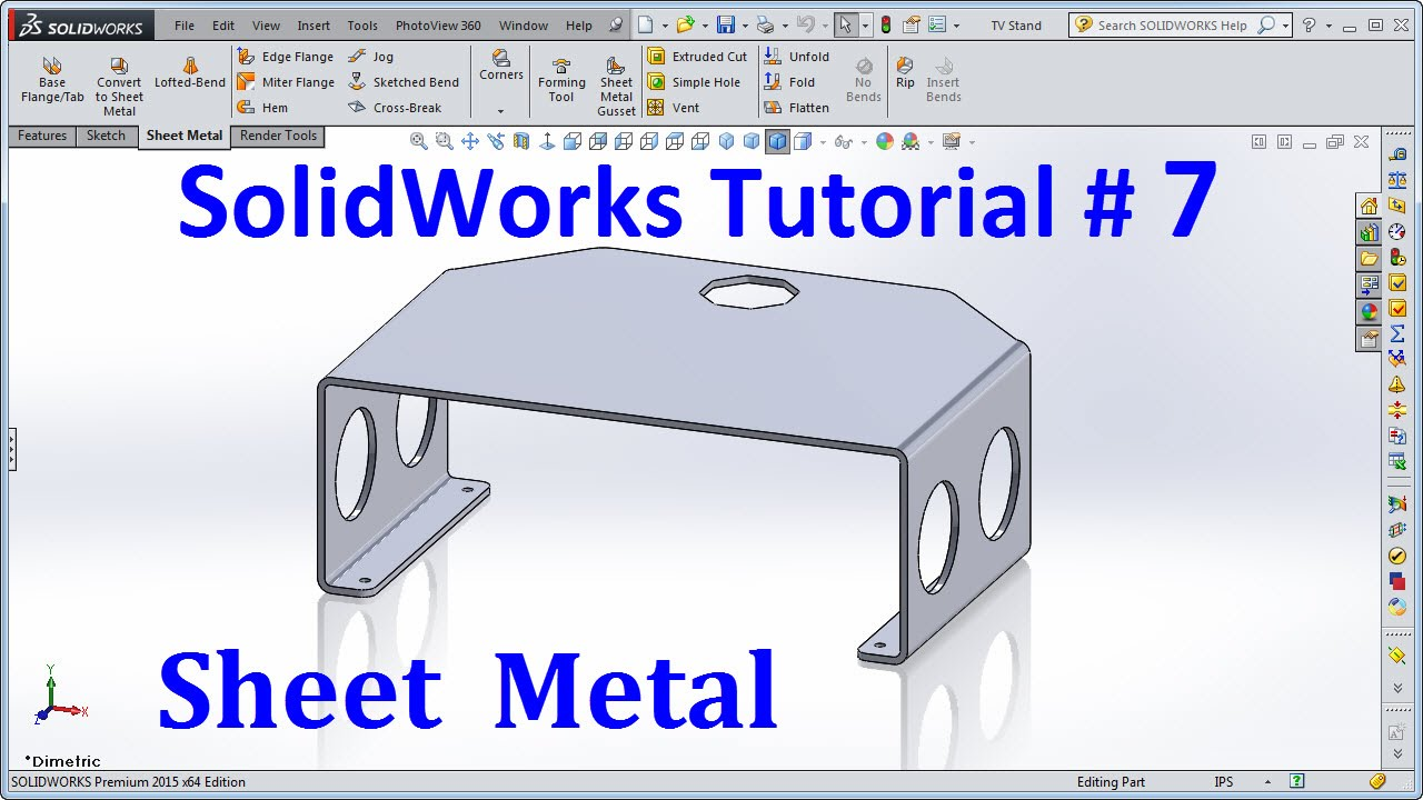 Solidworks 2015 Tutorial 007 Sheet Metal Youtube