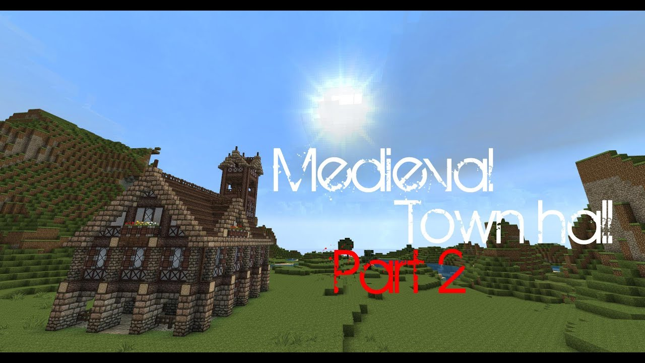Minecraft Medieval town hall tutorial - Part 2 - YouTube