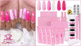 MAKARTT ALL PINK POLYGEL KIT!! Unboxing, Review, Tutorial & I USED DUAL FORMS💖💅🏽