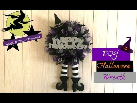 DIY Halloween Witch Wreath- With Mostly Dollar Tree Items