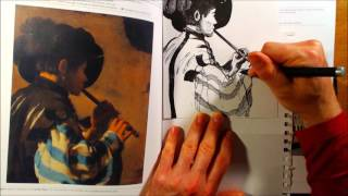 The Flute Player - Drawing a drawing of a painting that someone painted a long time ago