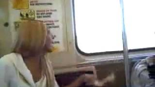 Girl (or tranny?) vs Black Man - Subway