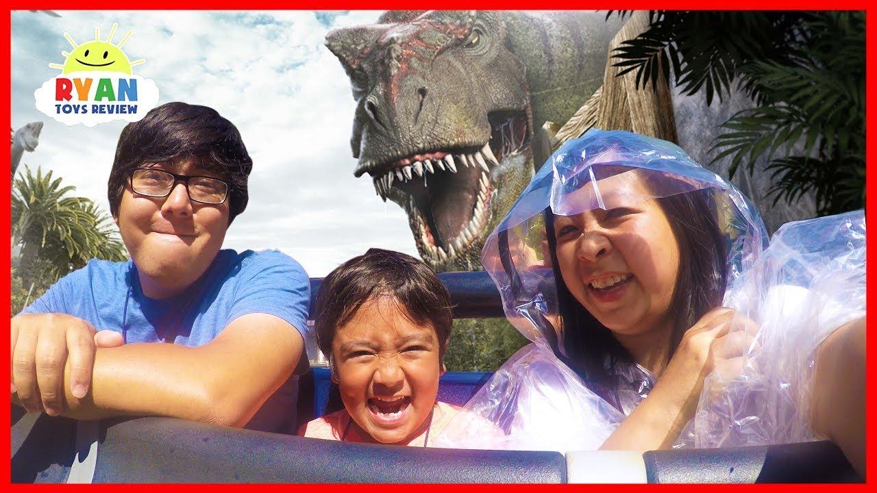 Ryan Rides Jurassic World The Ride at Universal Studios Amusement Park!!!!